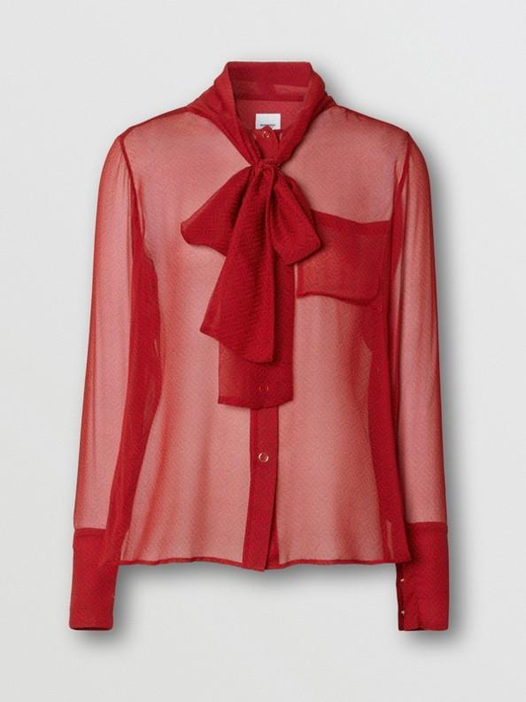 Blusa com gola laço em chiffon de seda com estampa de monograma (Vermelho Intenso)