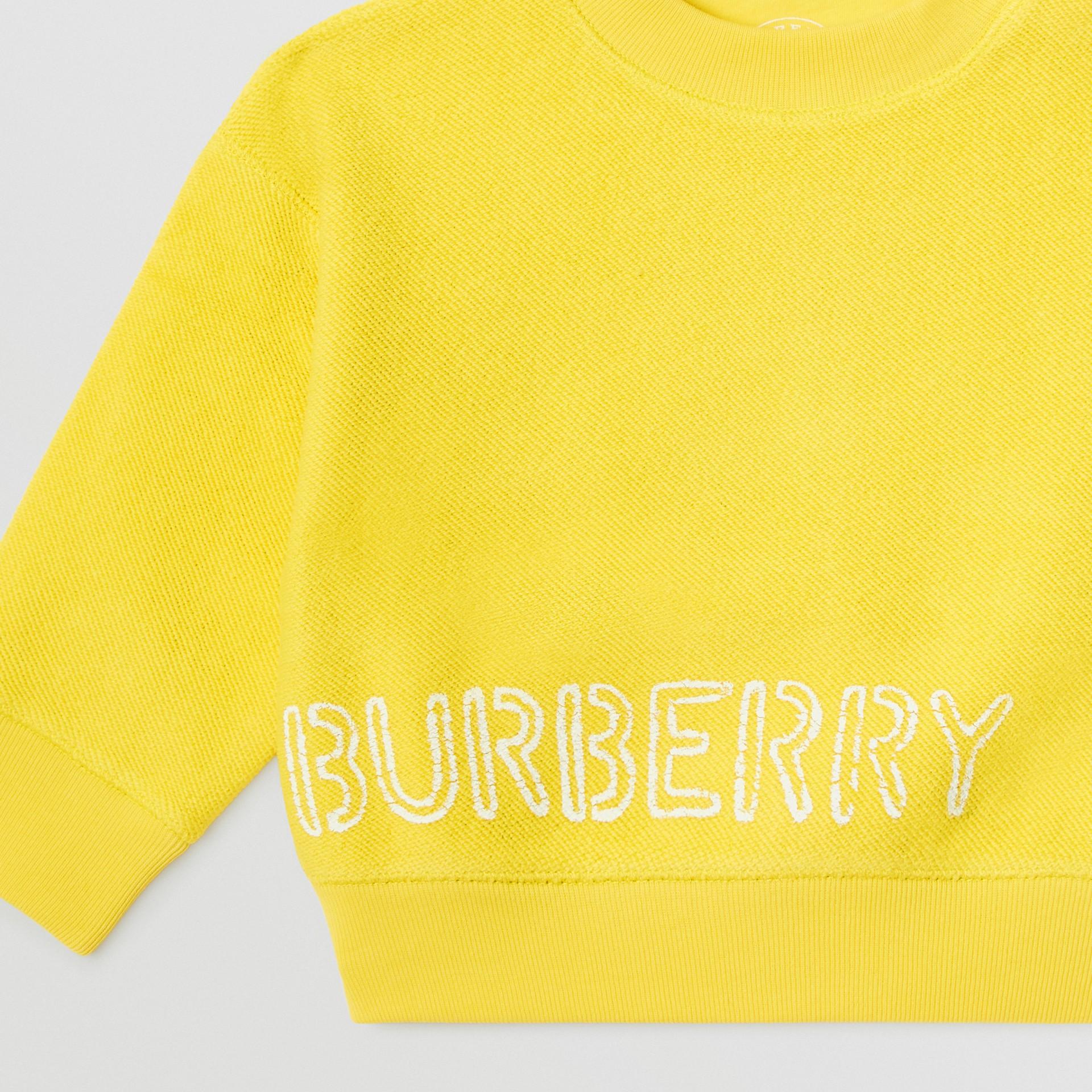 Sweat-shirt en coton avec logo au pochoir (Citron) - Enfant | Burberry - photo de la galerie 4