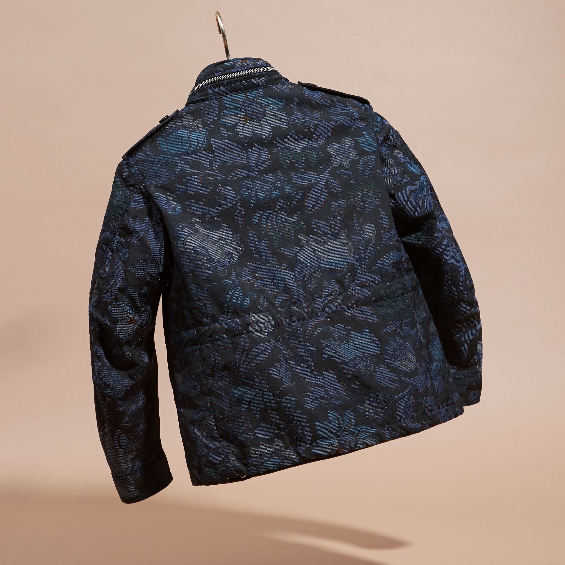 Navy Floral Jacquard Field Jacket with Packaway Hood - gallery image 4