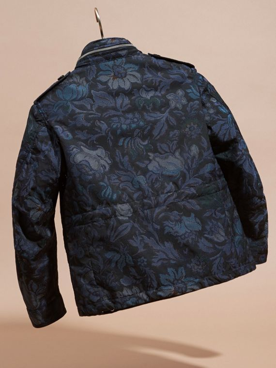 Navy Floral Jacquard Field Jacket with Packaway Hood - cell image 3