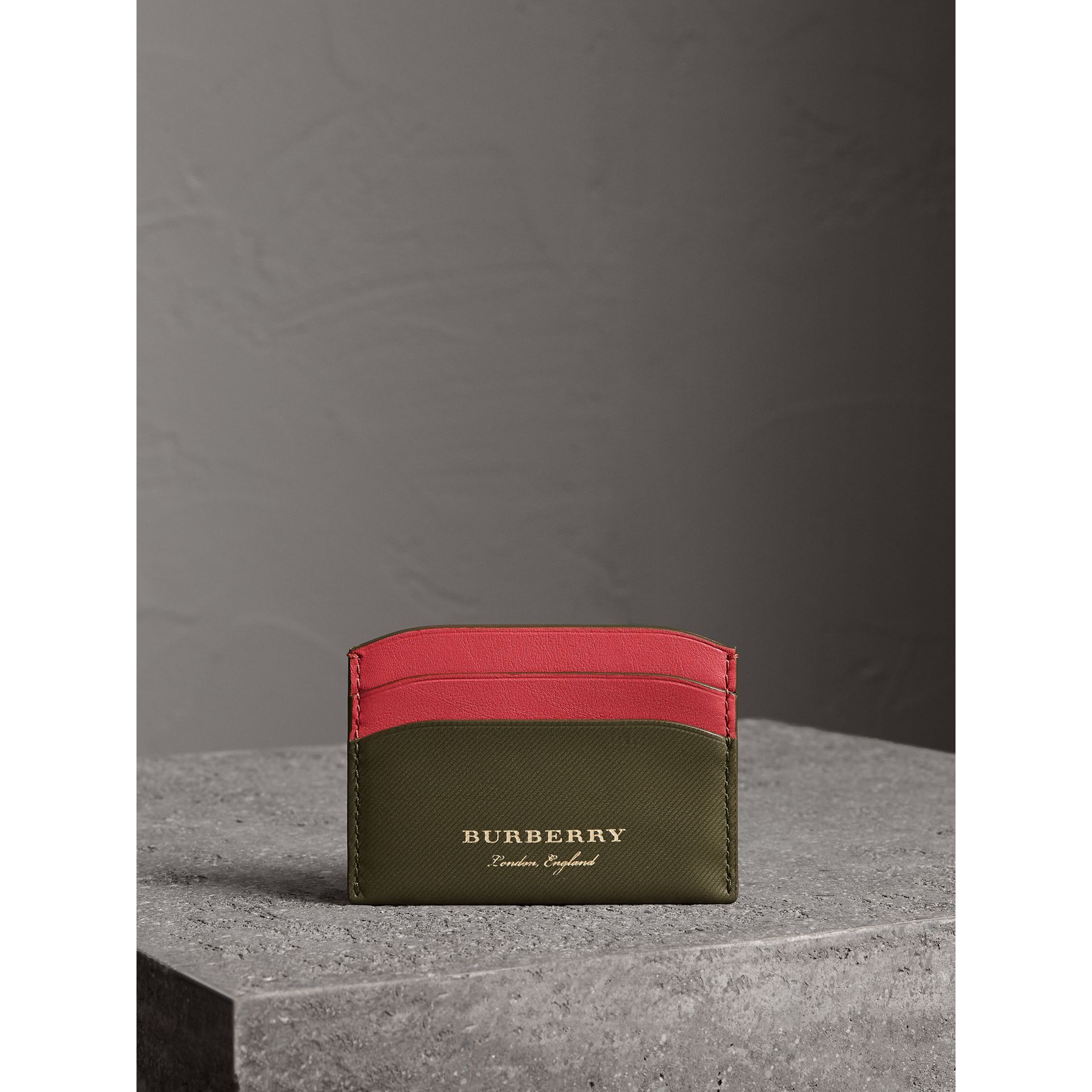 Two-tone Trench Leather Card Case in Mss Green/ Blsm Pink - Women | Burberry United States - gallery image 3