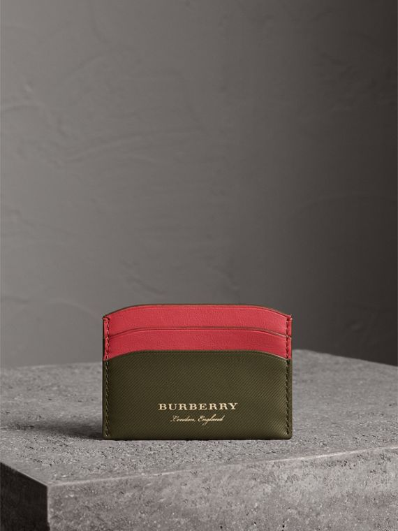 Two-tone Trench Leather Card Case in Mss Green/ Blsm Pink - Women | Burberry United States - cell image 3