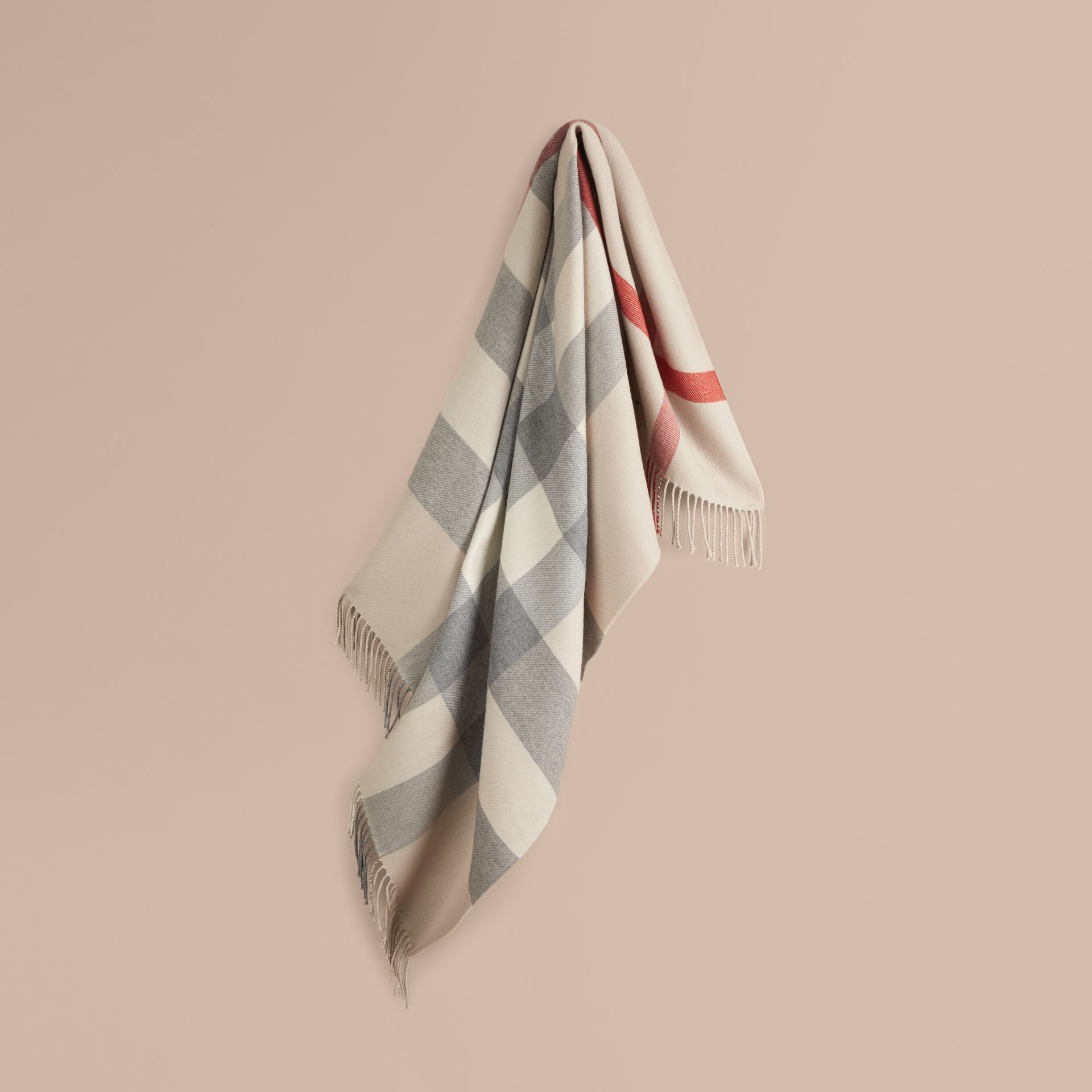 Check Merino Wool Baby Blanket in Stone | Burberry Australia - gallery image 1