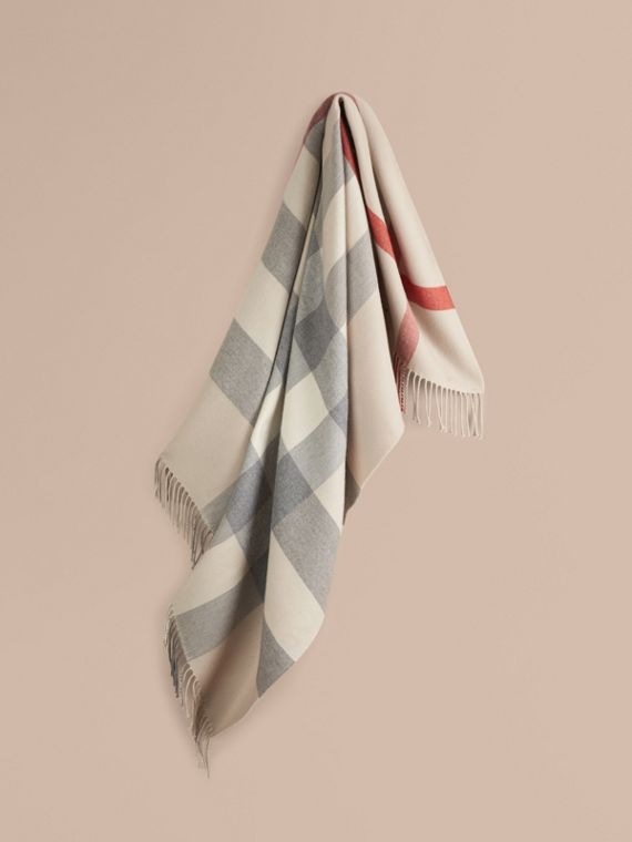 Check Merino Wool Baby Blanket in Stone | Burberry