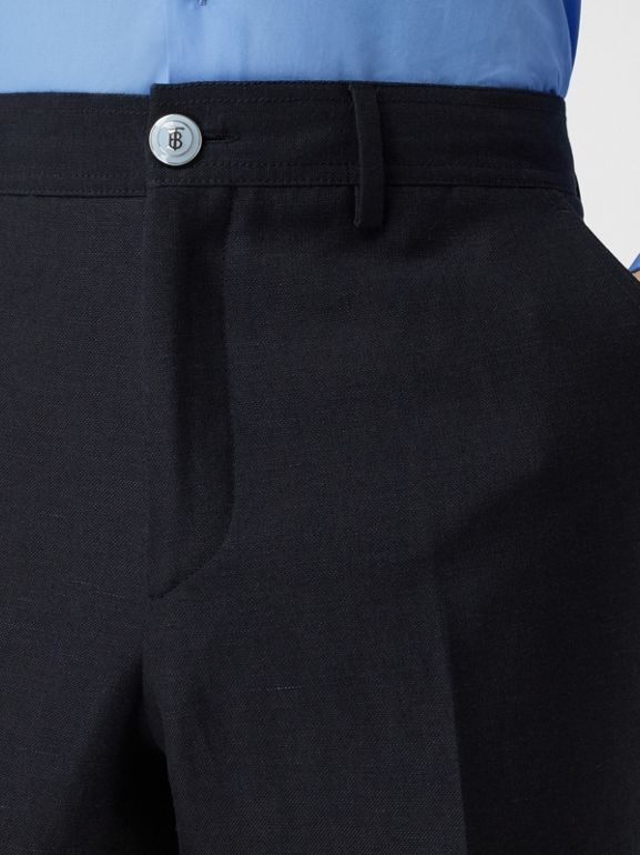 Classic Fit Wool Linen Mohair Tailored Trousers in Dark Navy - Men | Burberry - cell image 1