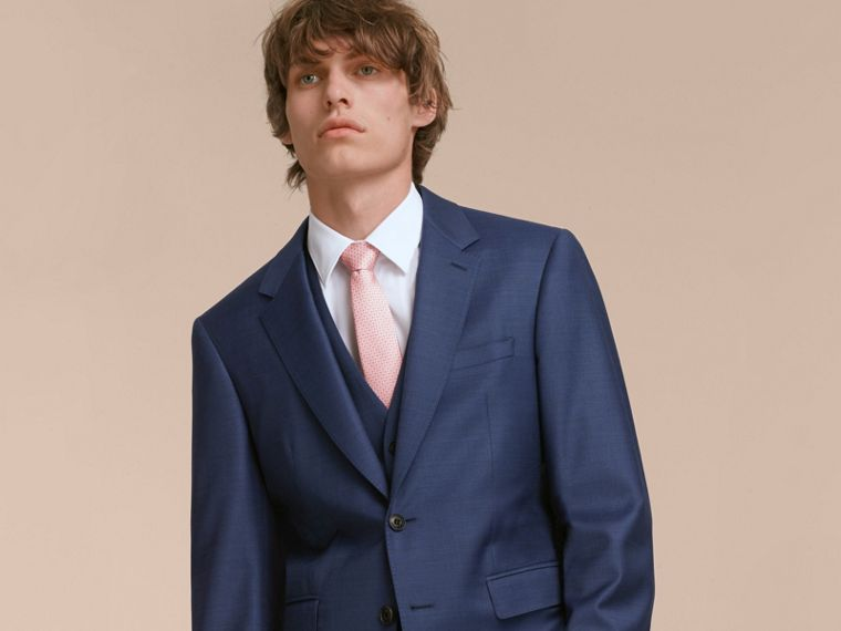 Modern Cut Graphic Puppy Tooth Print Silk Tie in Rose Pink - Men | Burberry Australia - cell image 2