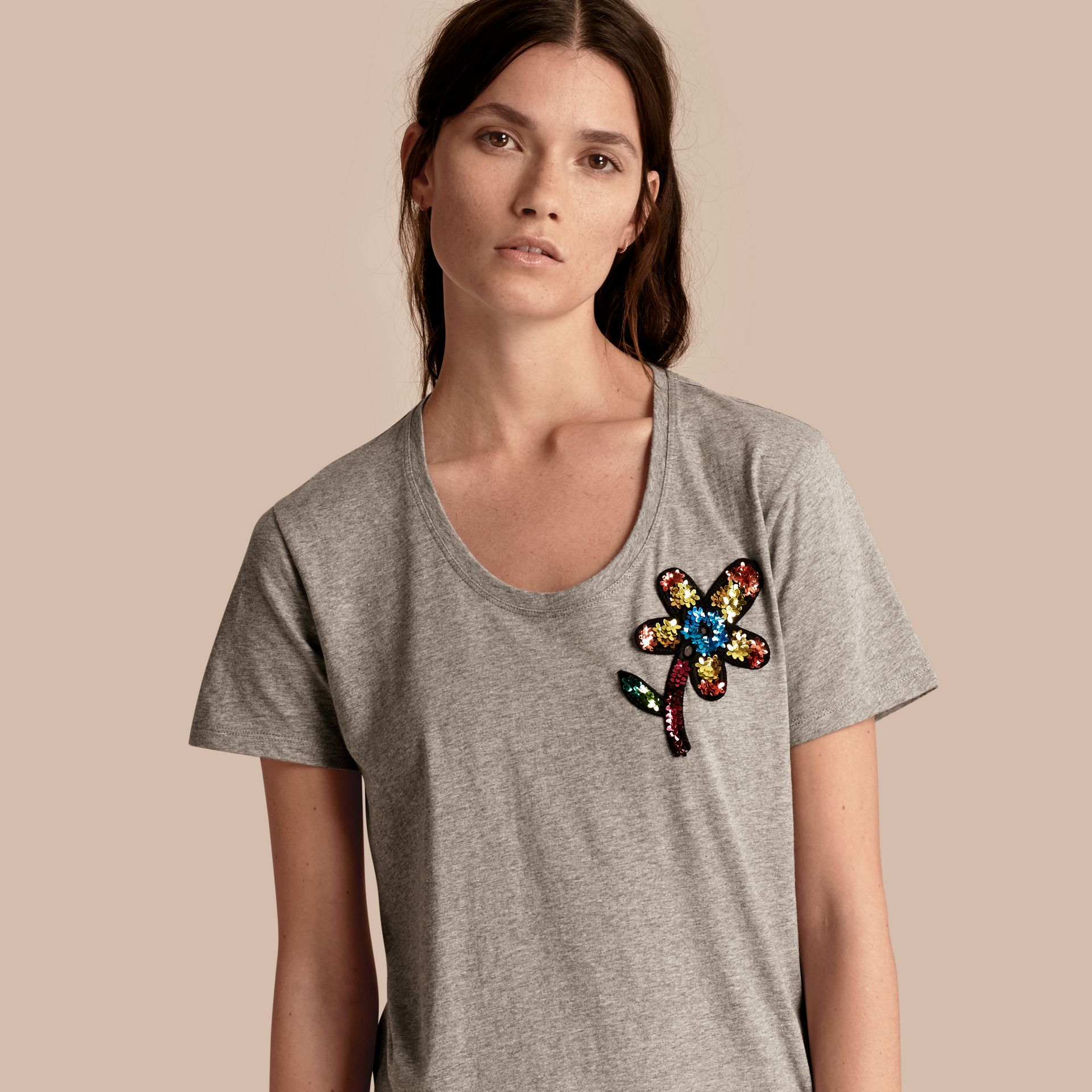 Pale grey melange Sequin Floral Appliqué Cotton T-Shirt Pale Grey Melange - gallery image 1