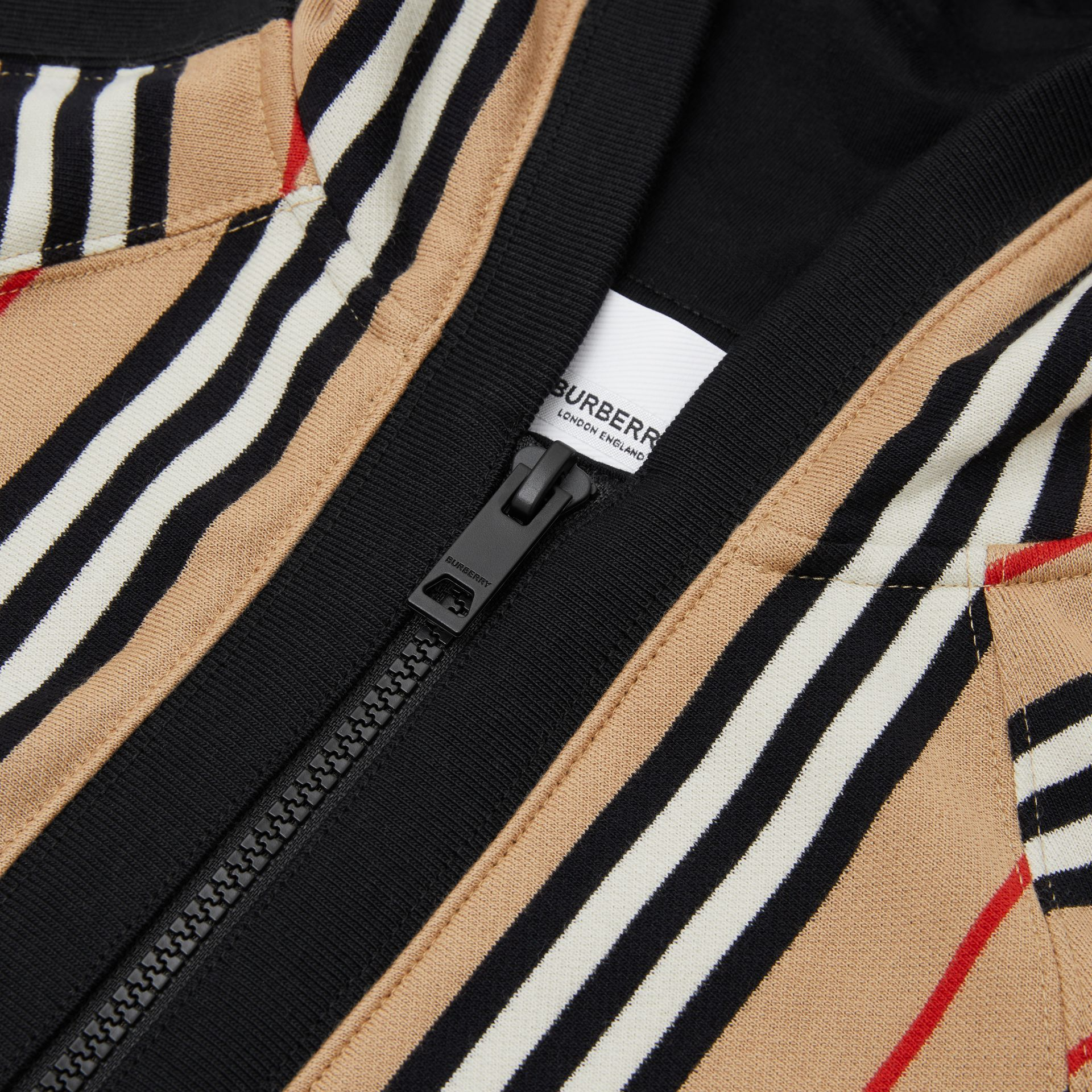 Icon Stripe Cotton Hooded Top in Archive Beige | Burberry - gallery image 1