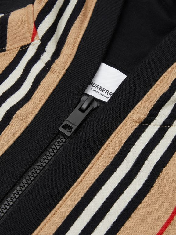 Icon Stripe Cotton Hooded Top in Archive Beige | Burberry - cell image 1