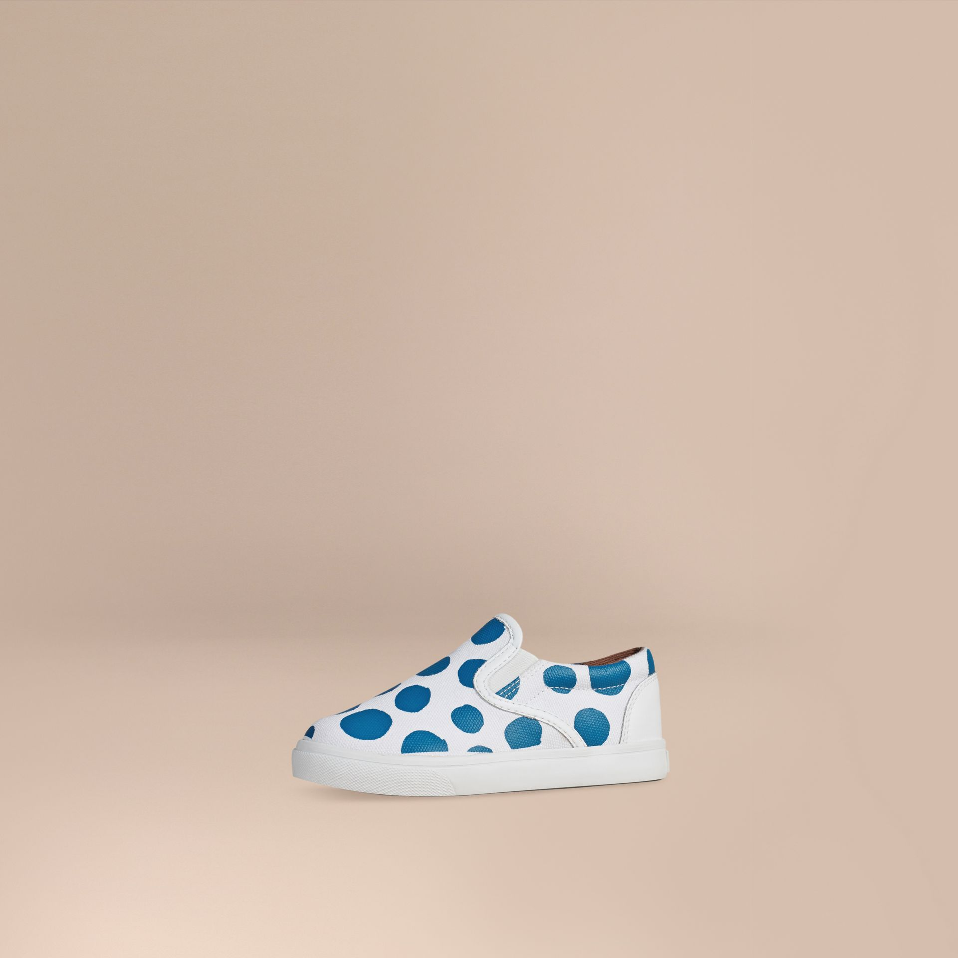 Cornflower blue Dot Print Cotton and Leather Slip-on Trainers - gallery image 1