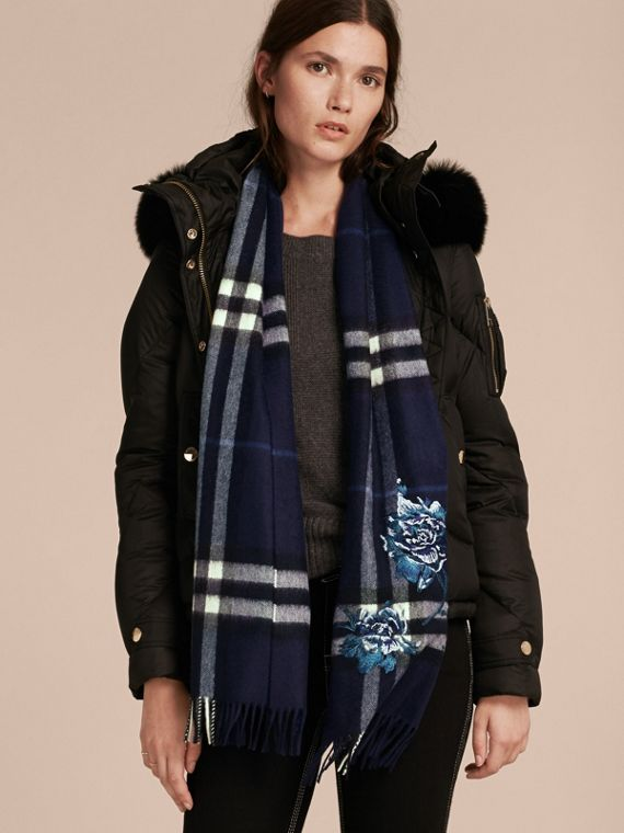 Oversize Peony Rose Embroidered Check Cashmere Scarf - cell image 2