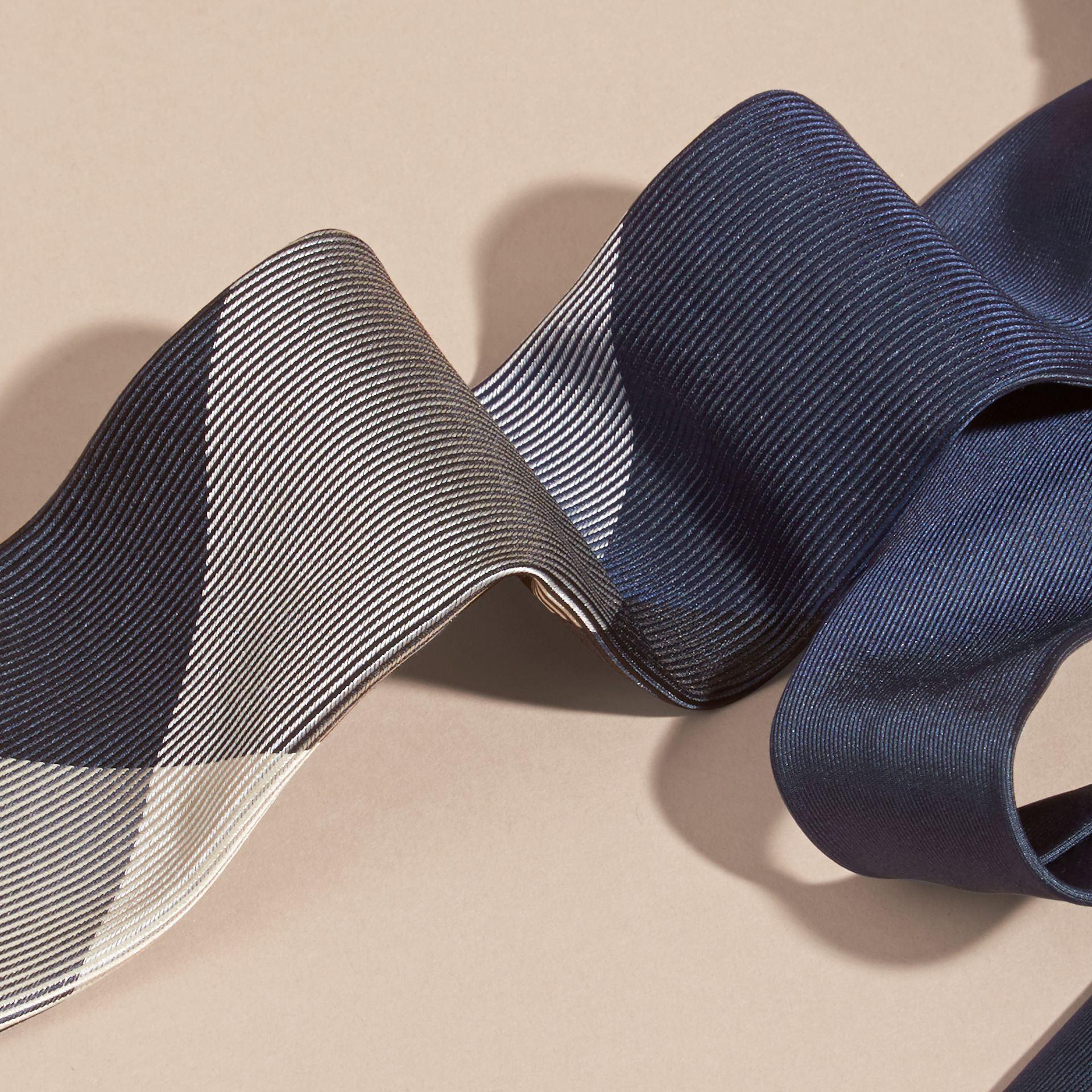 Modern Cut Check Jacquard Silk Tie in Navy - gallery image 2