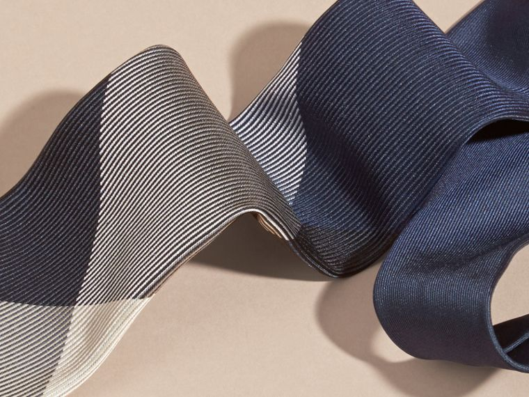 Modern Cut Check Jacquard Silk Tie in Navy - cell image 1
