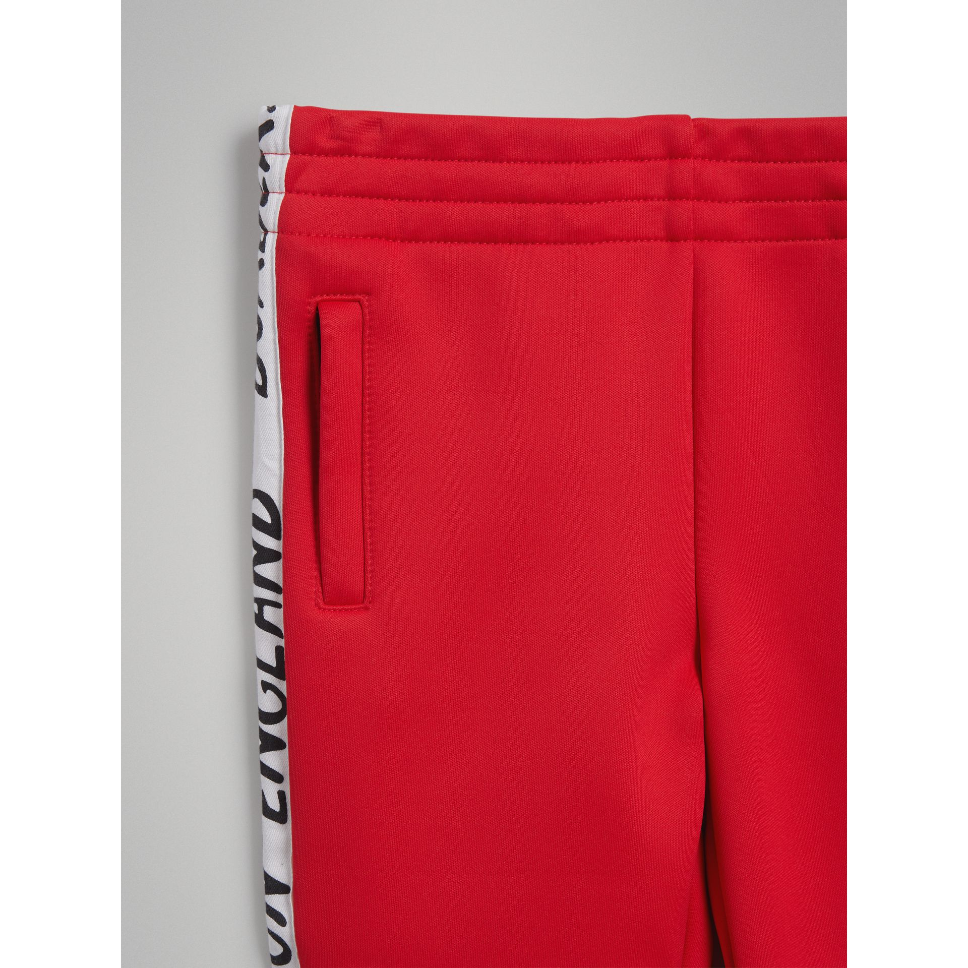 Stripe Detail Jersey Sweatpants in Bright Red - Boy | Burberry - gallery image 4