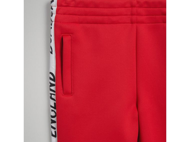 Stripe Detail Jersey Sweatpants in Bright Red - Boy | Burberry Singapore - cell image 4