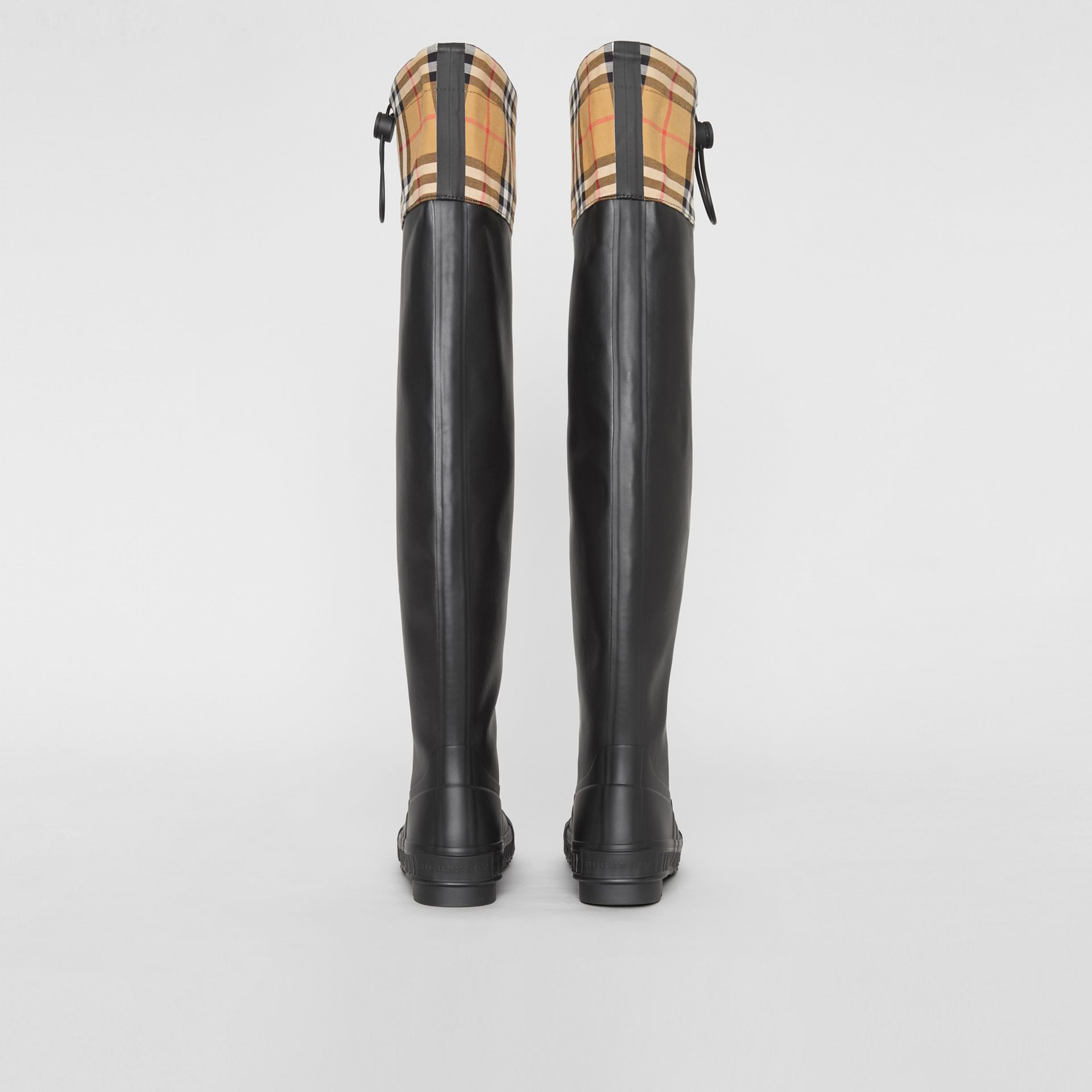 Vintage Check and Rubber Knee-high Rain Boots in Black - Women | Burberry Canada - gallery image 4
