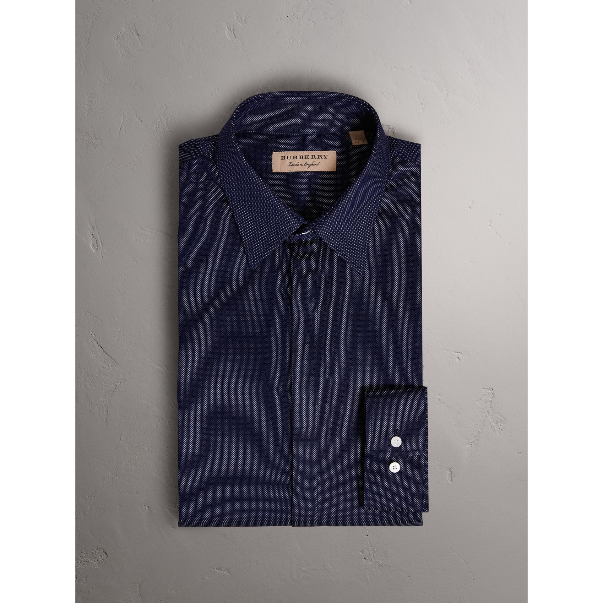 Modern Fit Pin Dot Dobby Cotton Shirt in Navy - Men | Burberry - gallery image 4