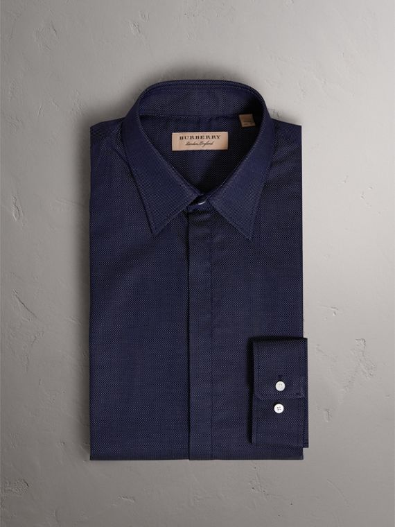 Modern Fit Pin Dot Dobby Cotton Shirt in Navy - Men | Burberry Canada - cell image 3