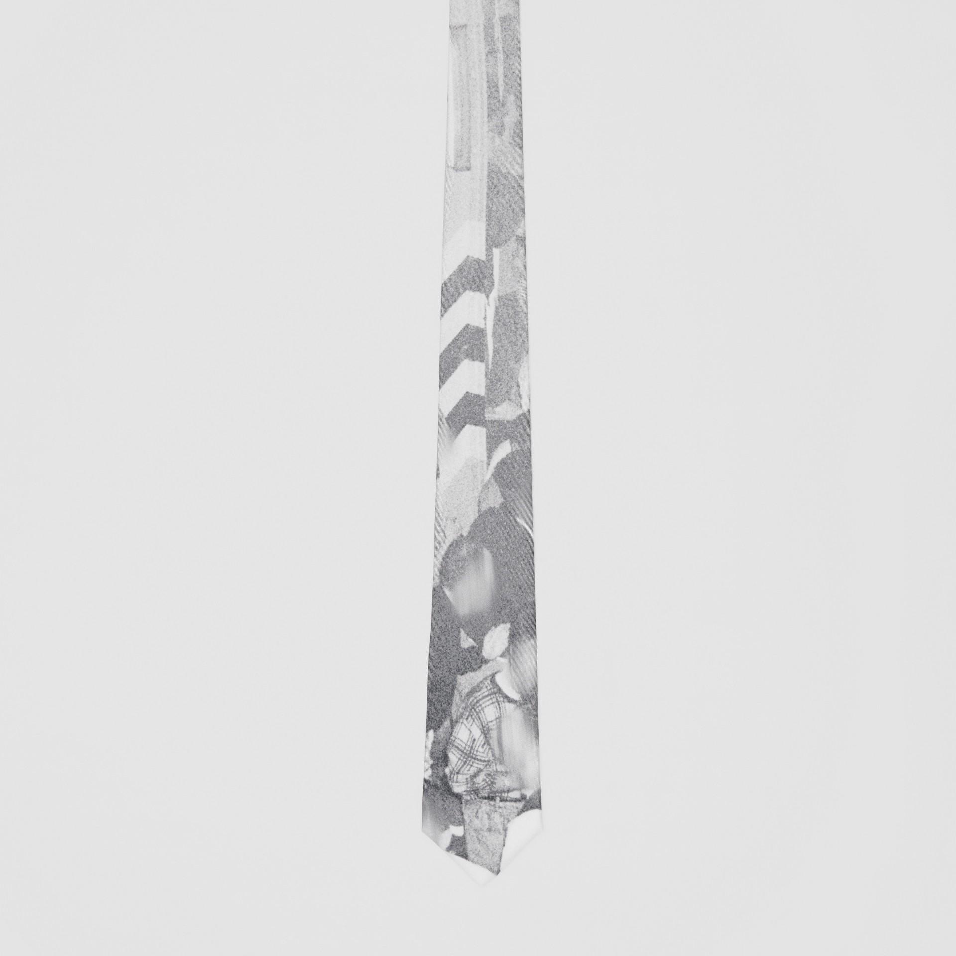 Classic Cut Rave Print Silk Tie in Monochrome - Men | Burberry Australia - gallery image 3