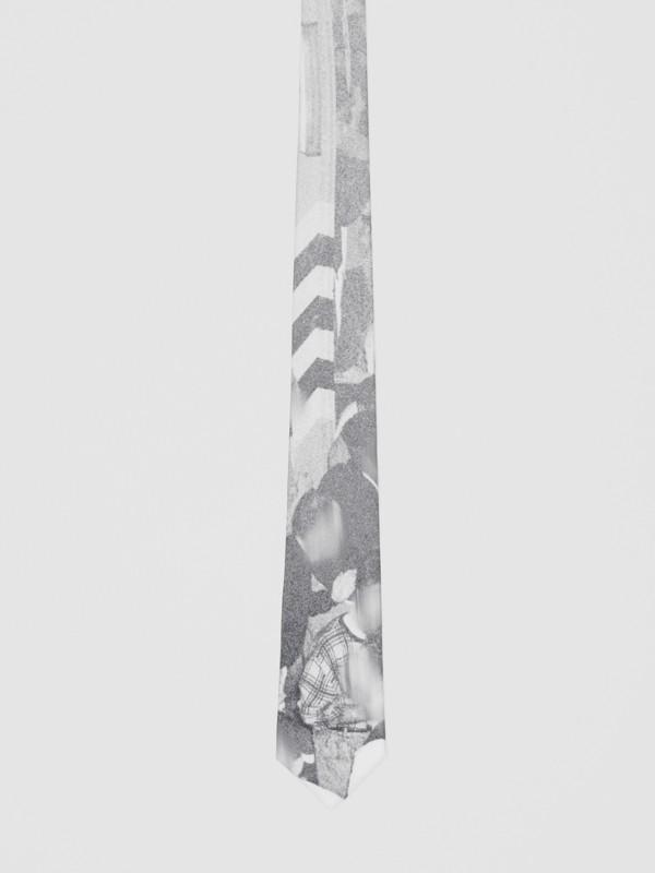 Classic Cut Rave Print Silk Tie in Monochrome - Men | Burberry Australia - cell image 3