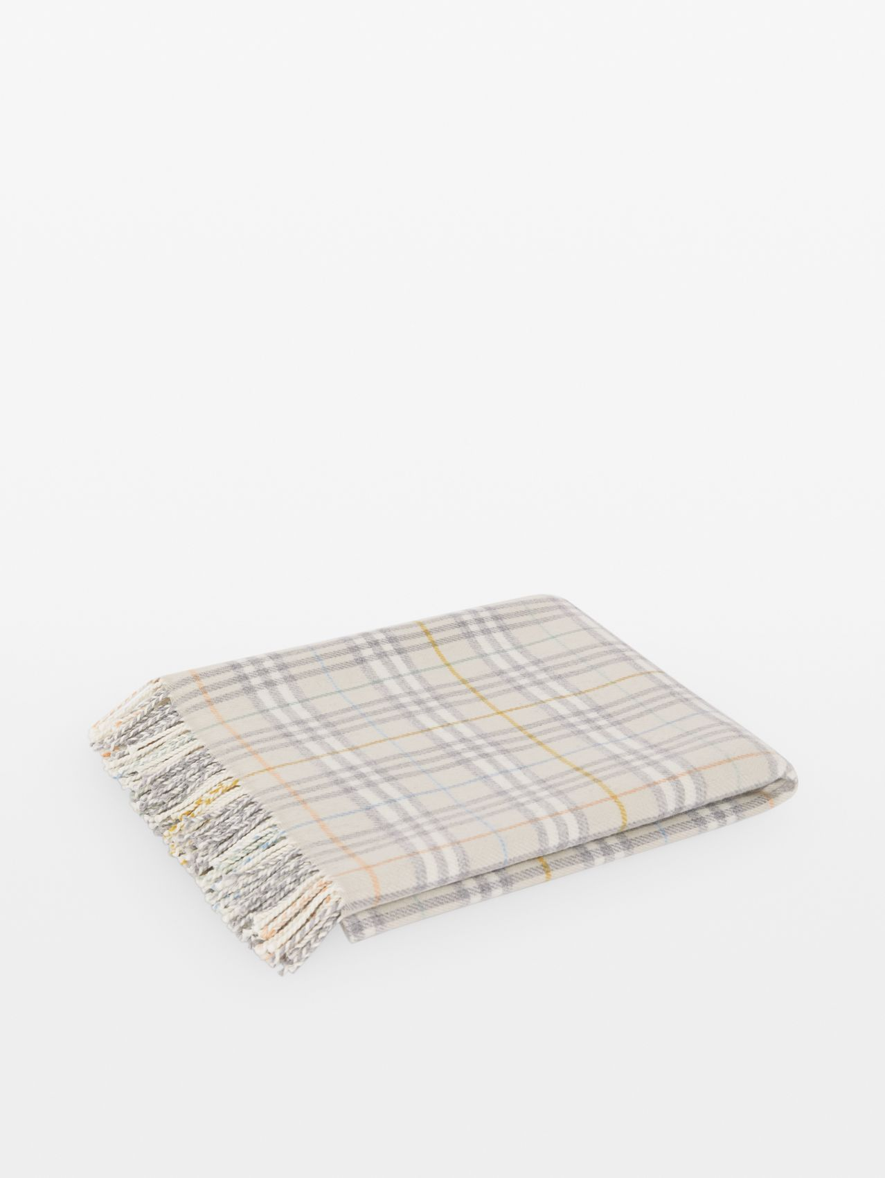 Check Merino Wool Baby Blanket in Ivory