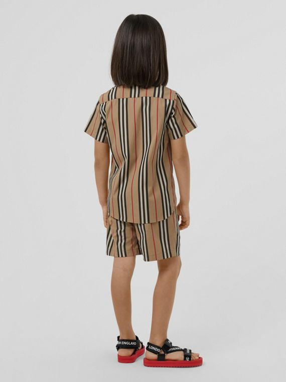 Chemise à manches courtes en popeline de coton à rayures iconiques (Beige D'archive)