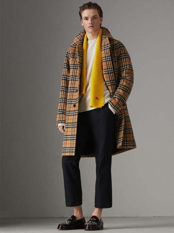 Embroidered Felted Wool Scarf in Saffron | Burberry Singapore - cell image 3
