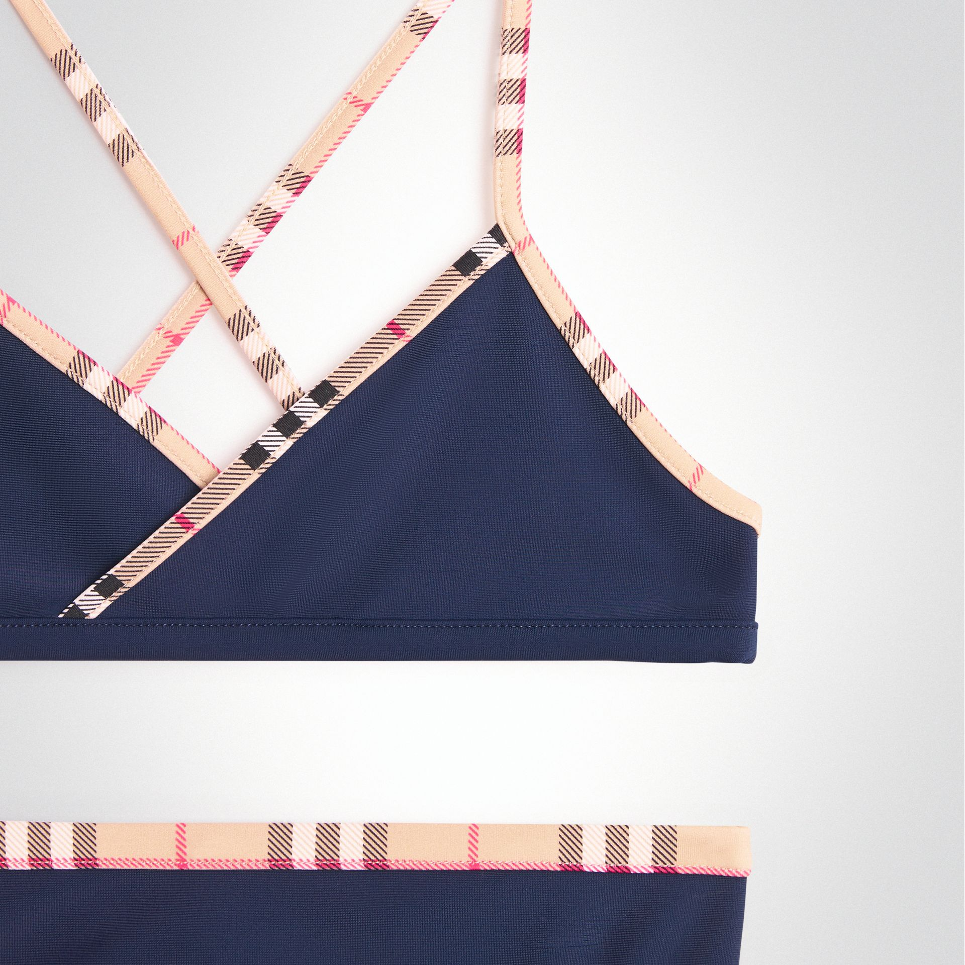 Check Trim Bikini in Navy - Girl | Burberry United States - gallery image 3