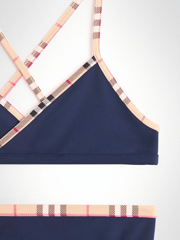 Check Trim Bikini in Navy - Girl | Burberry United Kingdom - cell image 3