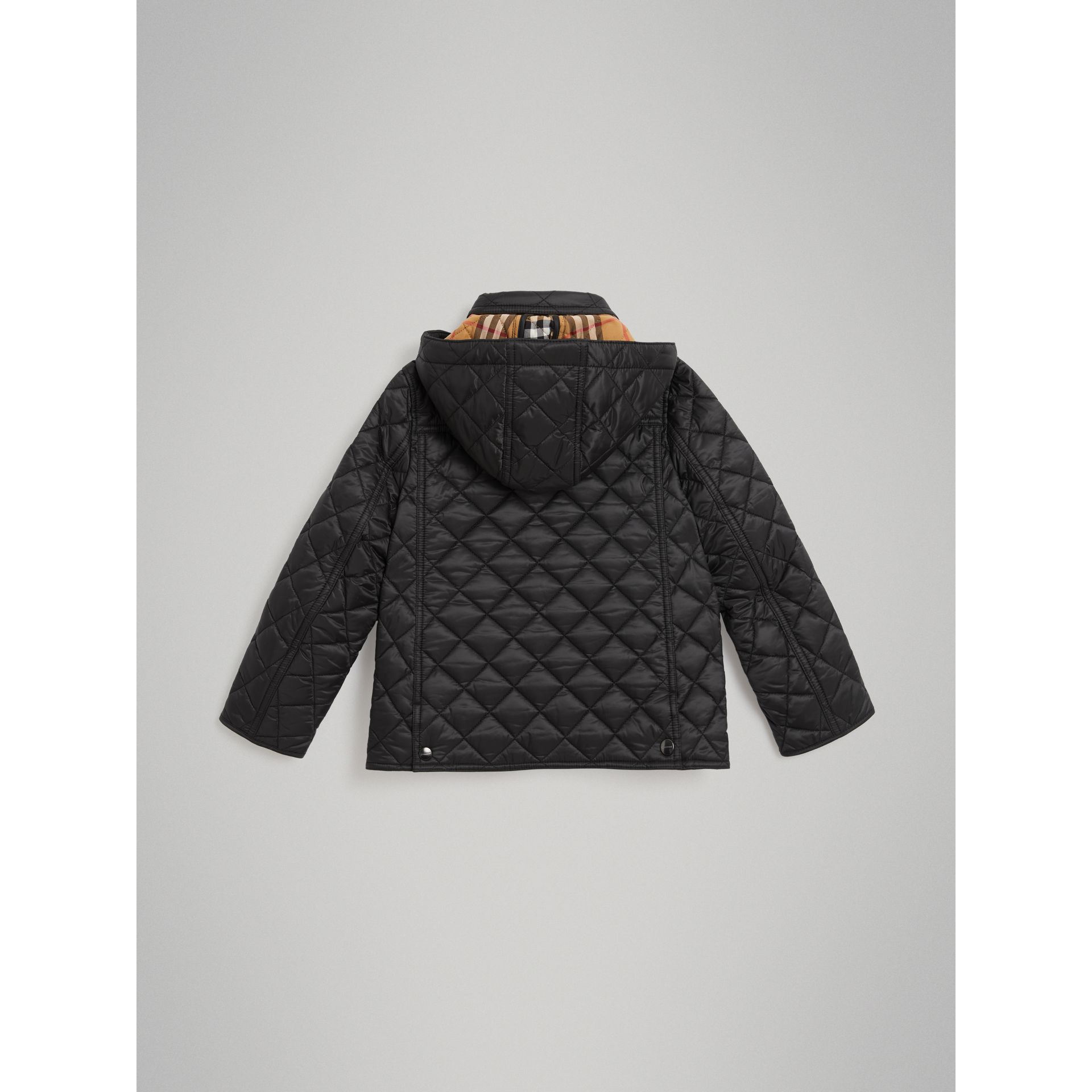 Detachable Hood Diamond Quilted Jacket in Black - Children | Burberry - gallery image 3