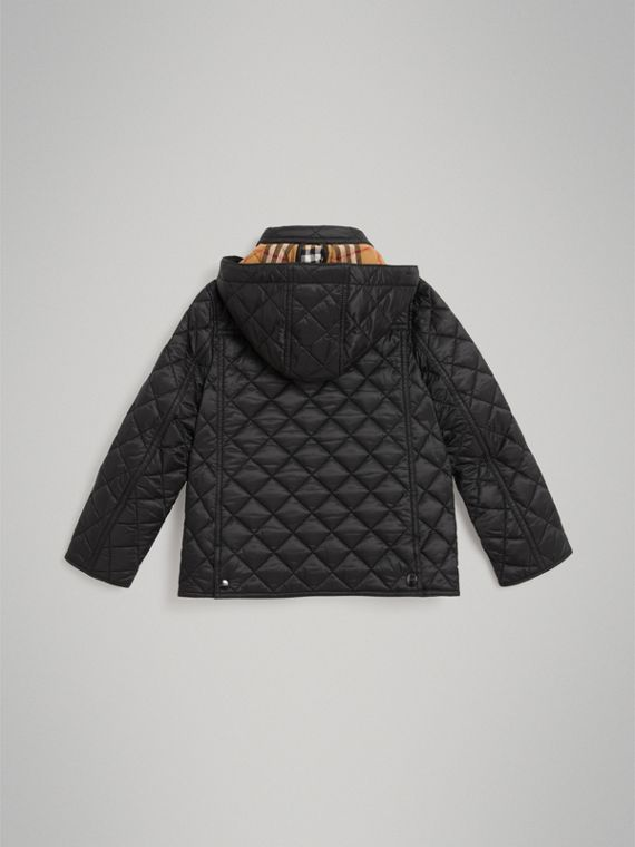 Detachable Hood Diamond Quilted Jacket in Black - Boy | Burberry United States - cell image 3