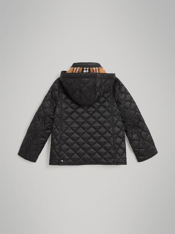 Detachable Hood Diamond Quilted Jacket in Black - Boy | Burberry - cell image 3