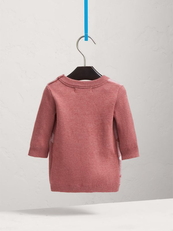 Check Cotton Cashmere Blend Dress in Mauve Pink | Burberry - cell image 3