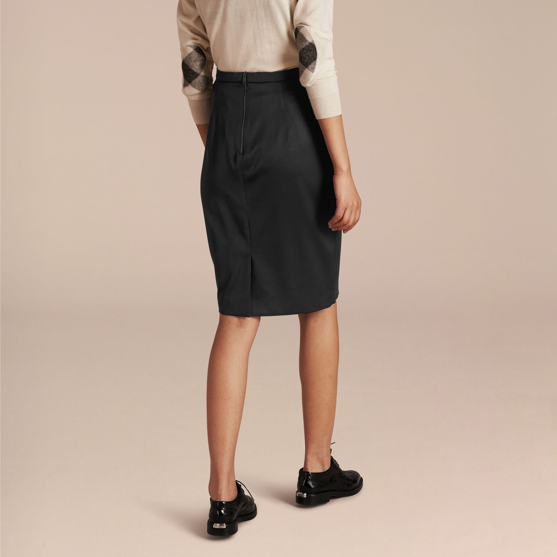 Stretch Virgin Wool Tailored Pencil Skirt in Black - gallery image 3