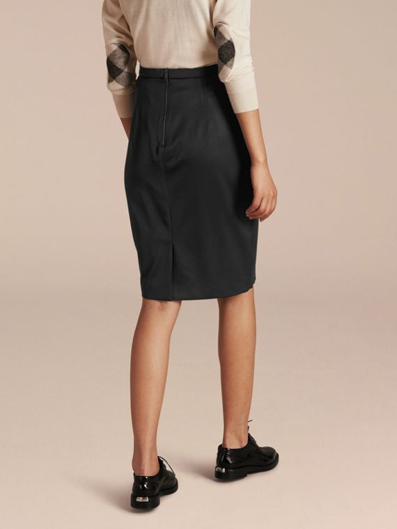 Stretch Virgin Wool Tailored Pencil Skirt in Black - cell image 2