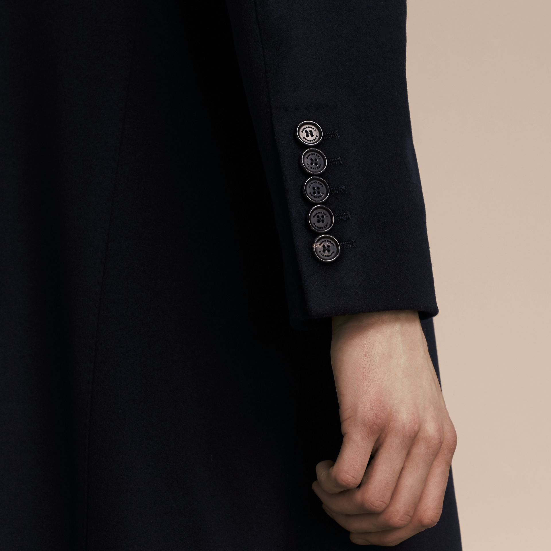Wool Cashmere Tailored Coat Navy - gallery image 5