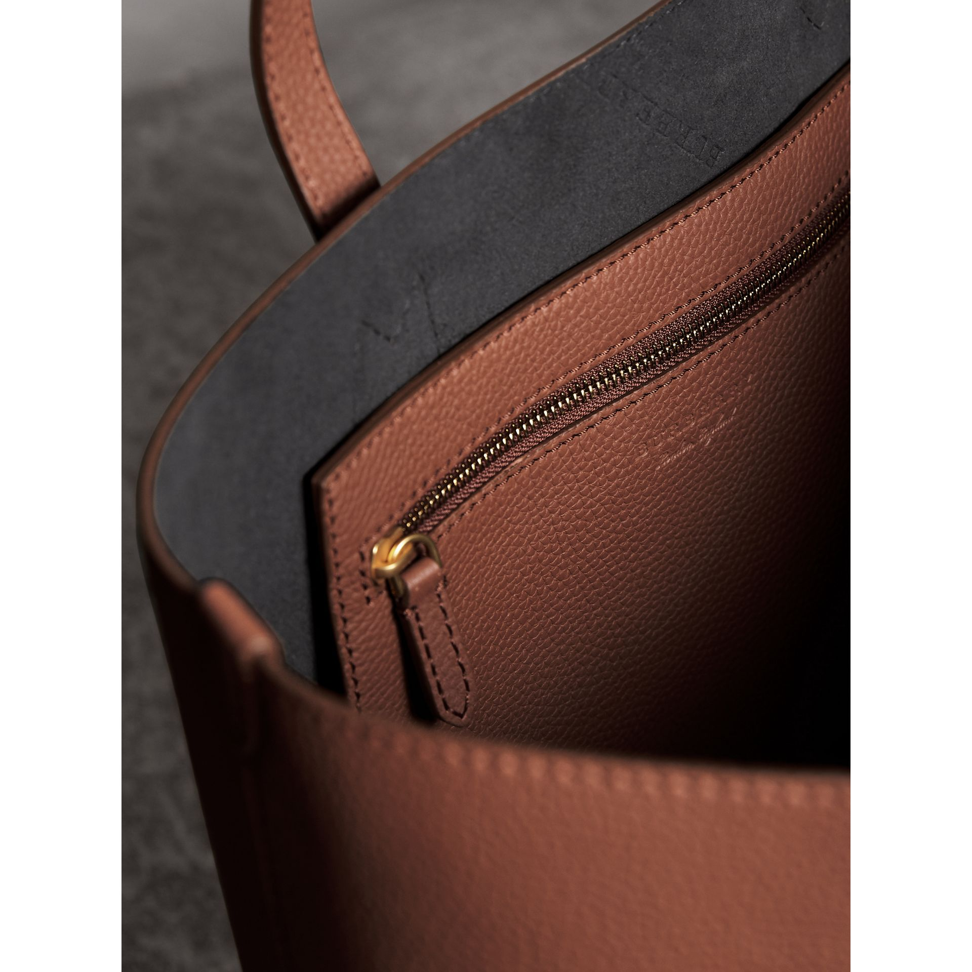 Embossed Leather Tote in Chestnut Brown | Burberry - gallery image 5