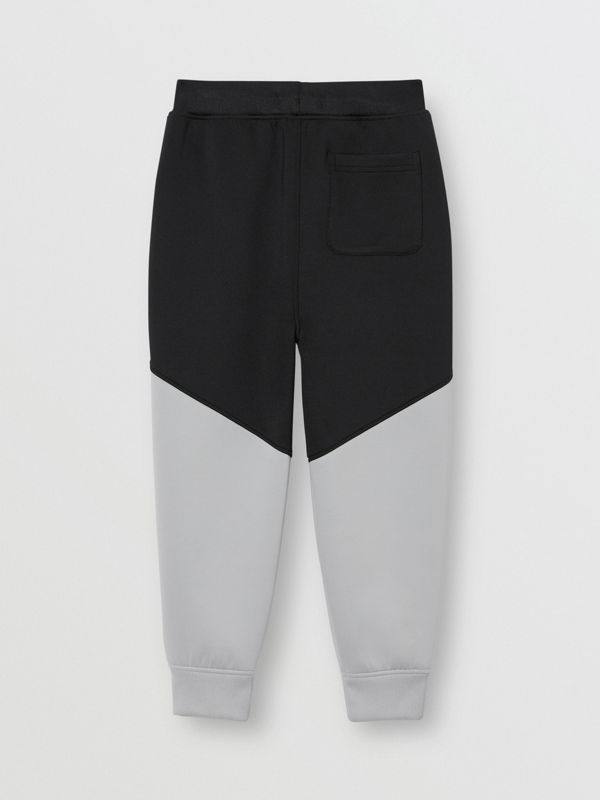 Logo Print Two-tone Stretch Jersey Trackpants in Black | Burberry - cell image 3