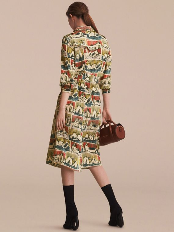 Silk Wrap Trench Dress with Reclining Figures Print in Stone Blue - Women | Burberry Australia - cell image 2
