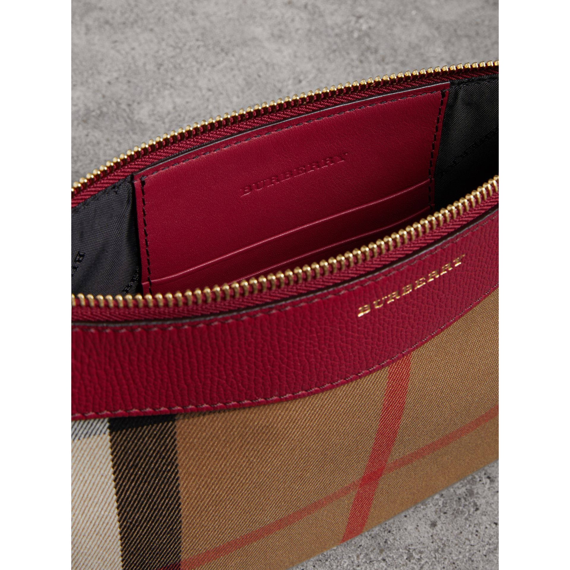 House Check and Leather Clutch Bag in Military Red - Women | Burberry - gallery image 4