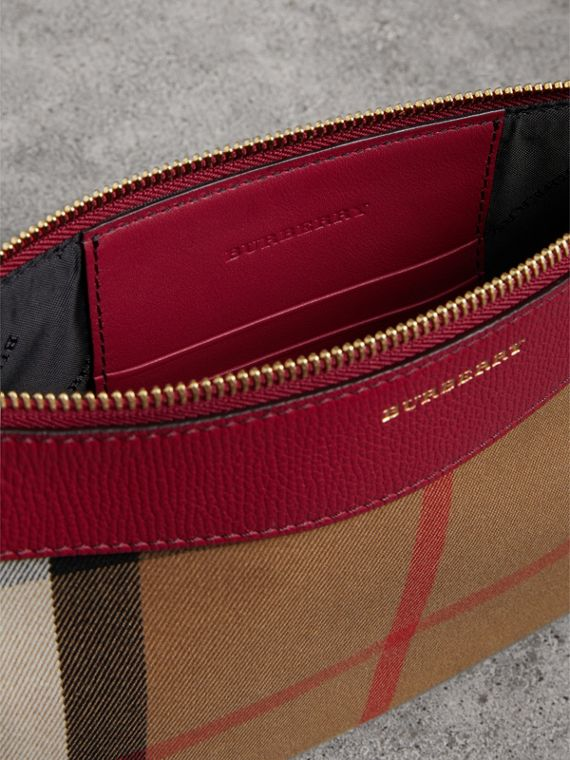 House Check and Leather Clutch Bag in Military Red - Women | Burberry - cell image 3
