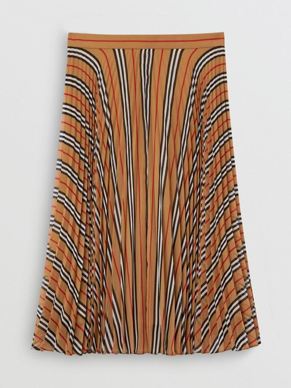 Icon Stripe Pleated A-line Skirt in Antique Yellow
