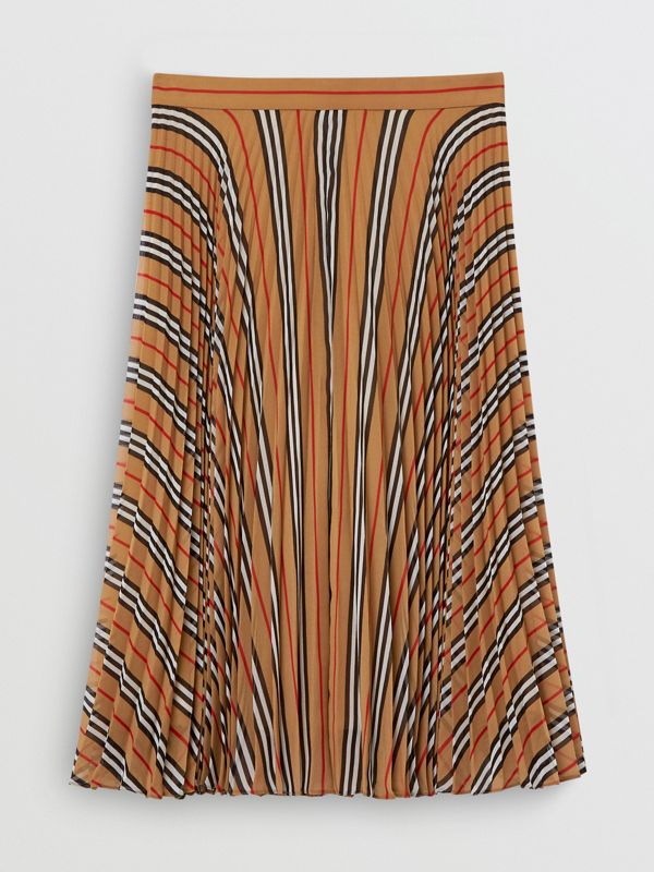 Icon Stripe Pleated A-line Skirt in Antique Yellow - Women | Burberry - cell image 3