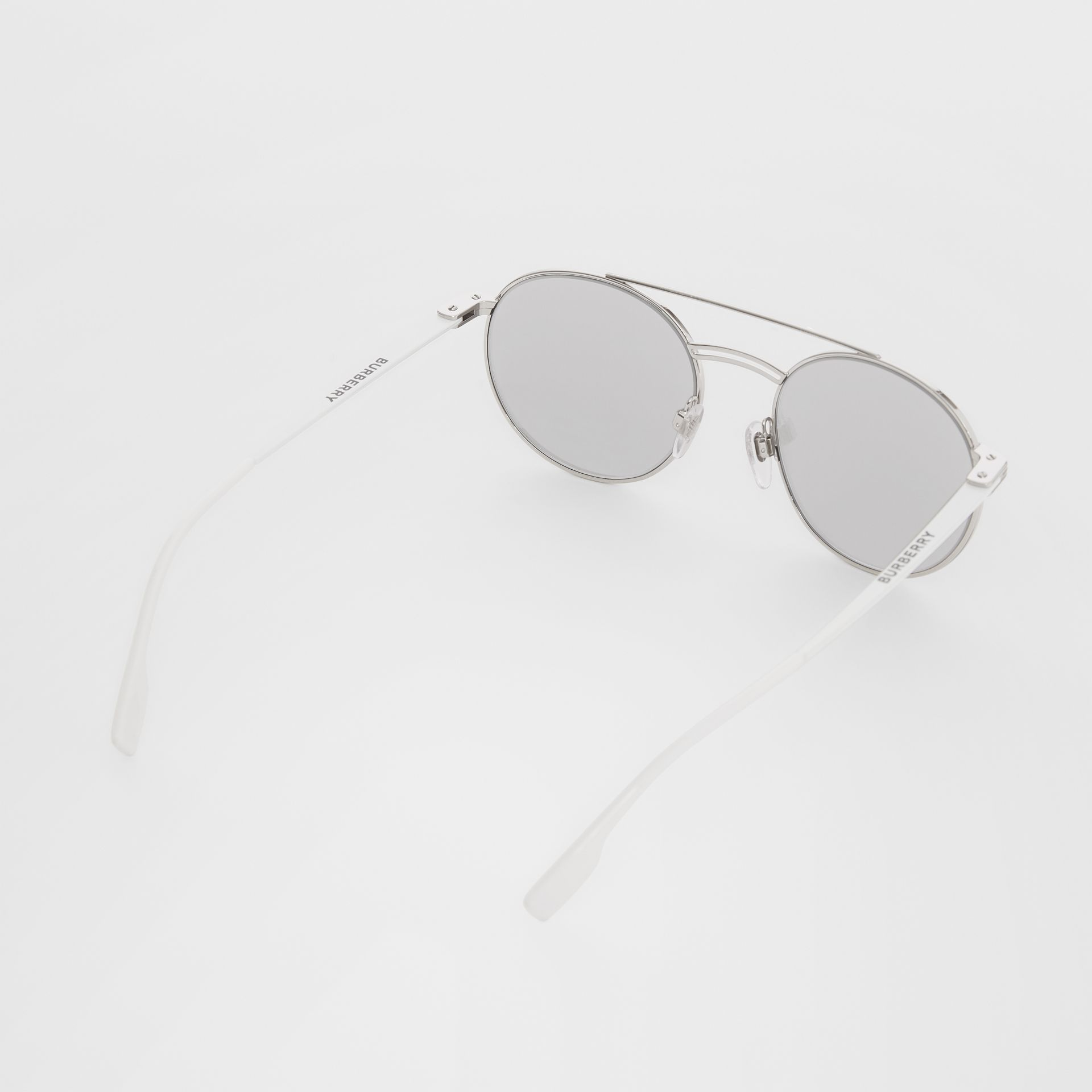 Top Bar Detail Round Frame Sunglasses in Silver - Men | Burberry - gallery image 4