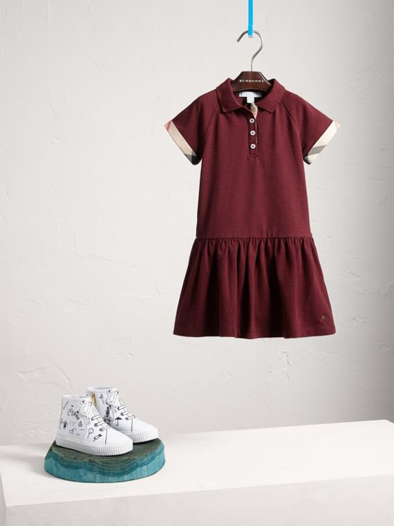 Dropped-waist Stretch Cotton Piqué Dress in Burgundy Melange - Girl | Burberry