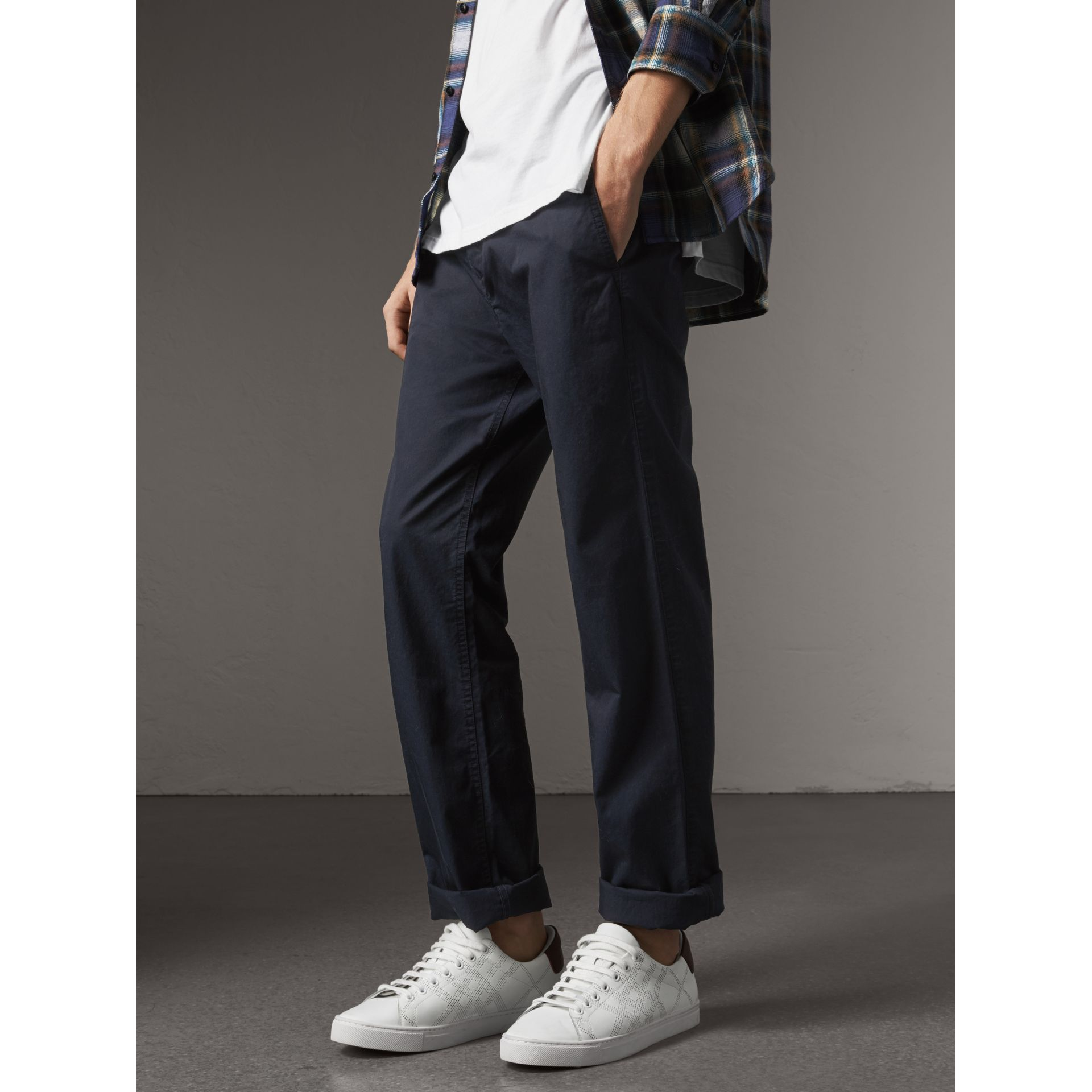 Straight Fit Cotton Chinos in Ink - Men | Burberry - gallery image 5