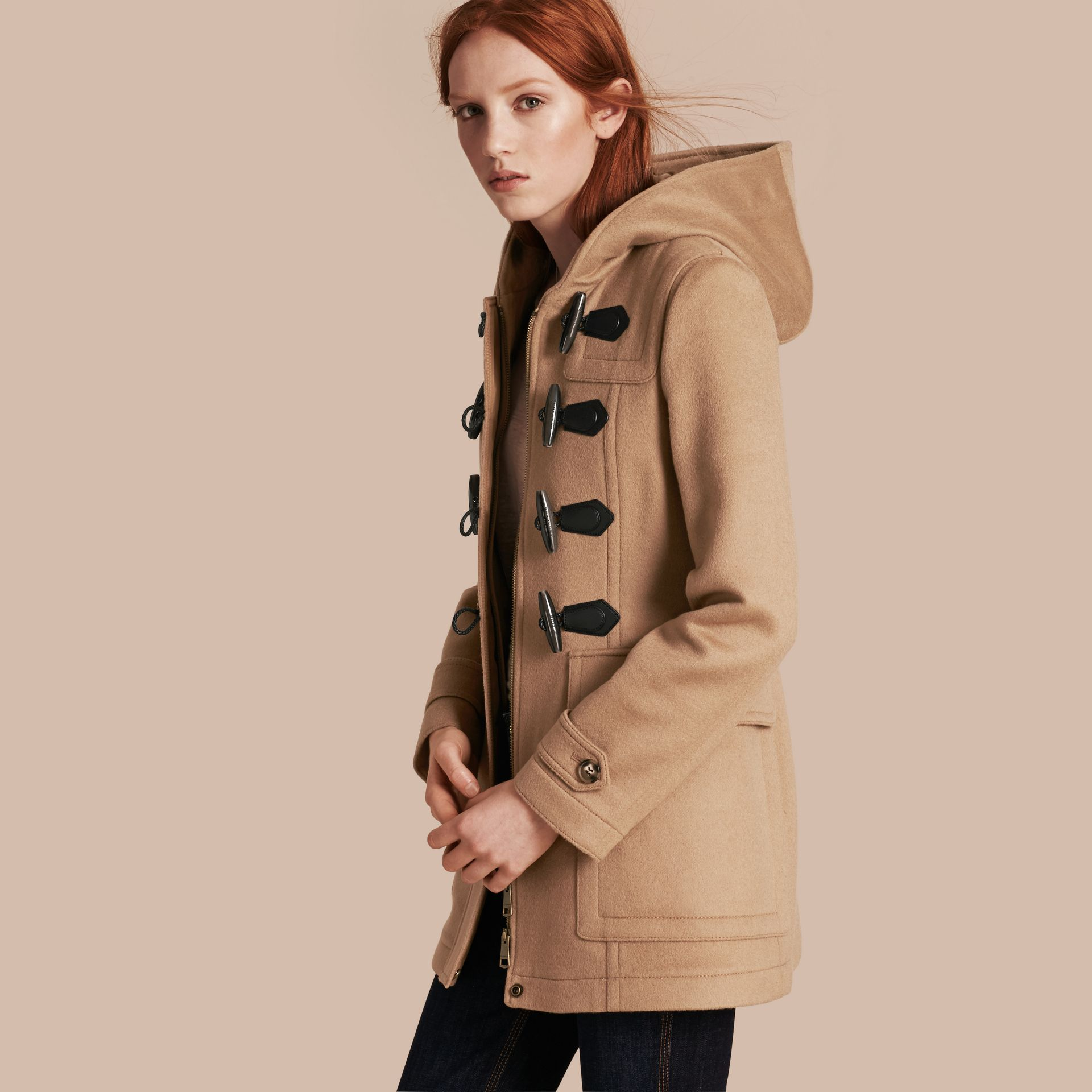 Fitted Wool Duffle Coat in New Camel - gallery image 1