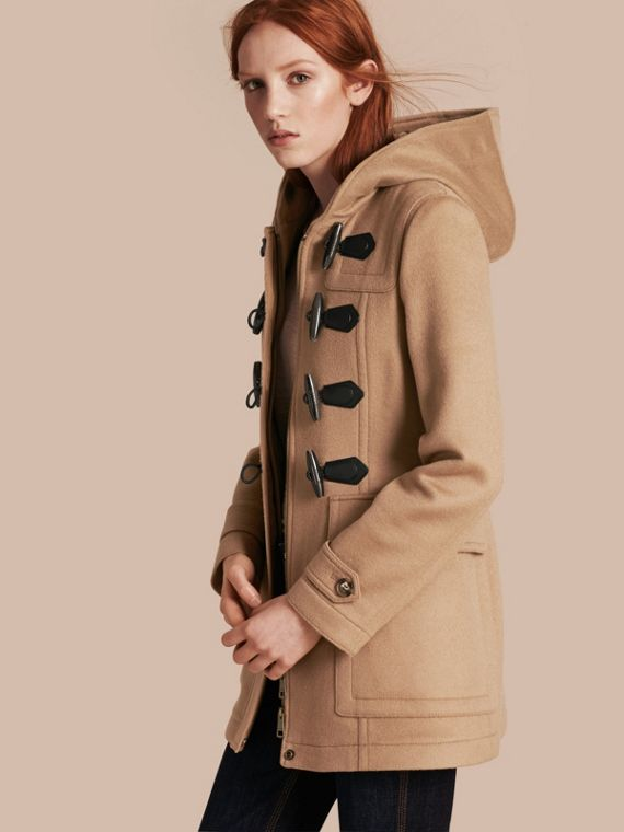 Fitted Wool Duffle Coat in New Camel