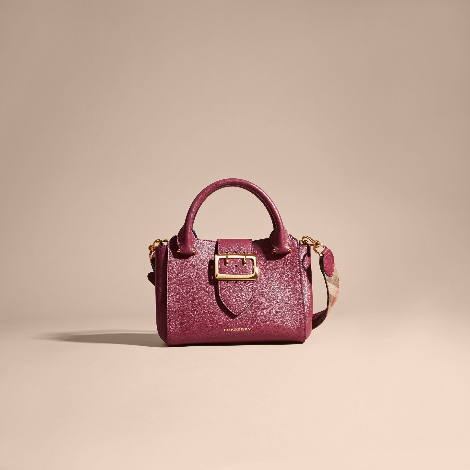 Dark plum The Small Buckle Tote in Grainy Leather Dark Plum - gallery image 9