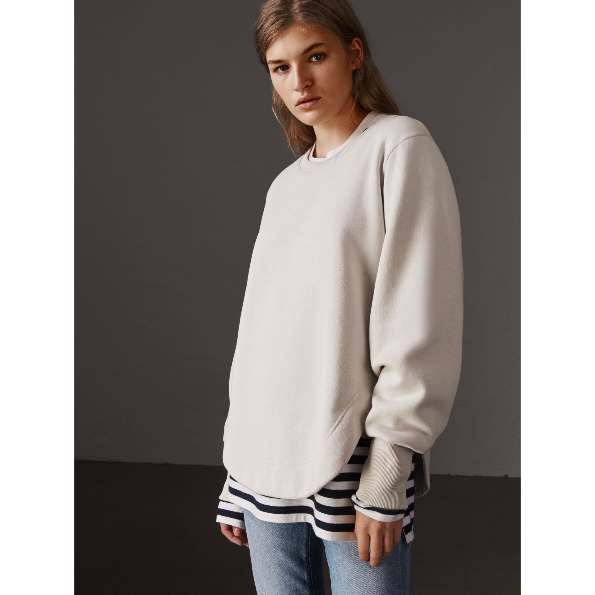 Curved Hem Jersey Sweatshirt in Winter White - Women | Burberry United States - gallery image 4